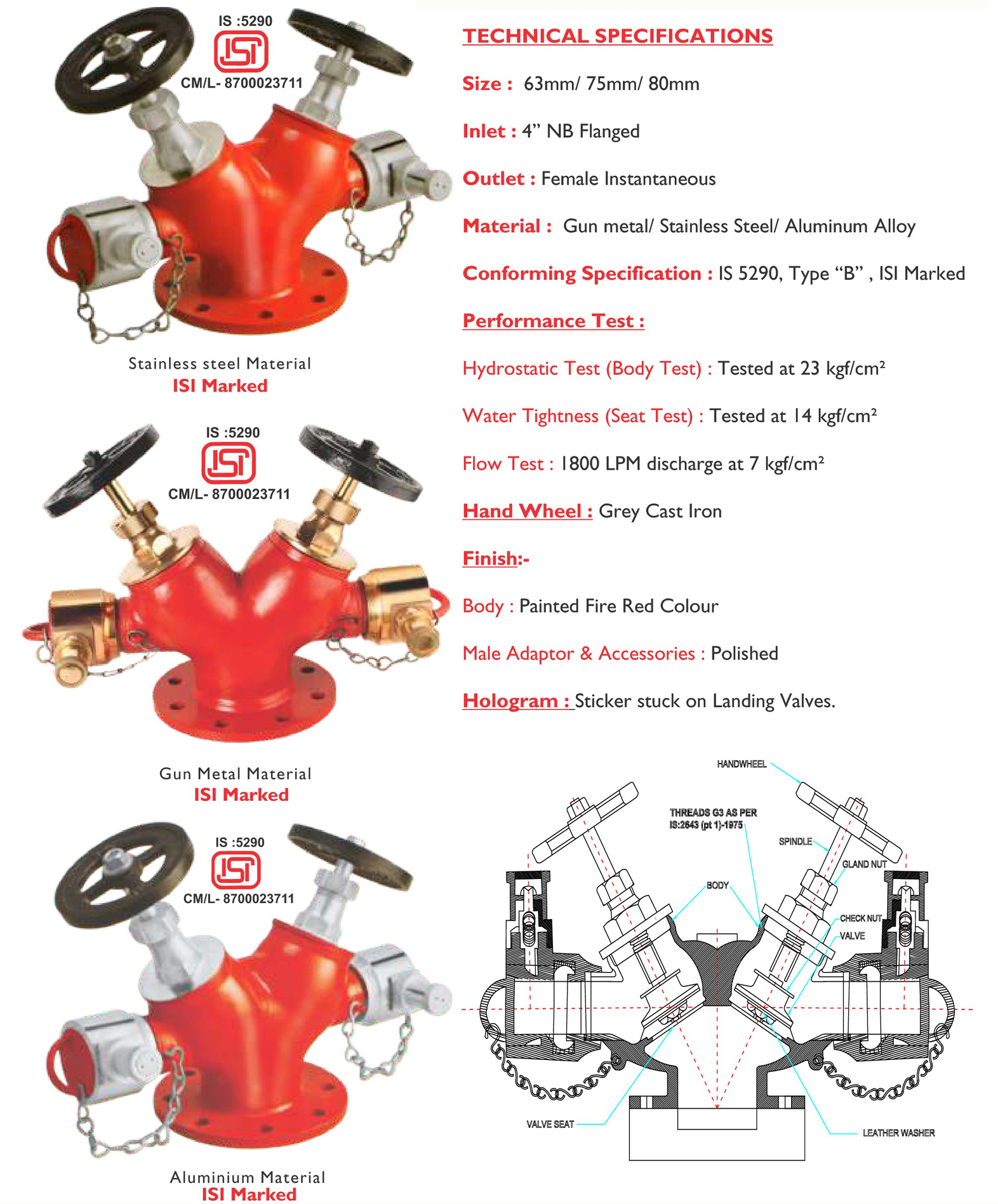 Double Outlet Landing Valve